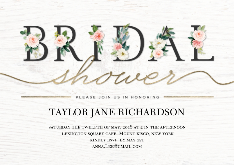 Wedding Shower Invitations 5x7 Cards, Premium Cardstock 120lb, Card & Stationery -Bridal Shower Floral Lettering by Tumbalina