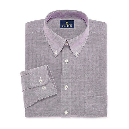Stafford Mens Wrinkle Free Oxford Button Down Collar Athletic Fit Dress Shirt, 18 36-37, Purple