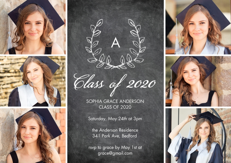 2020 Graduation Invitations 5x7 Cards, Premium Cardstock 120lb with Rounded Corners, Card & Stationery -Grad 2020 Initial by Tumbalina