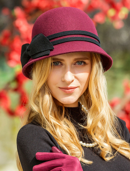 Milanoo Vintage Cloche Hats Wool Burgundy Bows Winter Felt Hat For Women