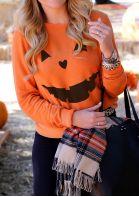 Halloween Pumpkin Printed Casual Sweatshirt