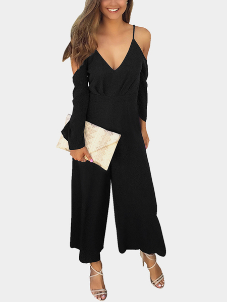 Yoins Black Deep V-neck Cold Shoulder Flared Sleeves High Waist Jumpsuit