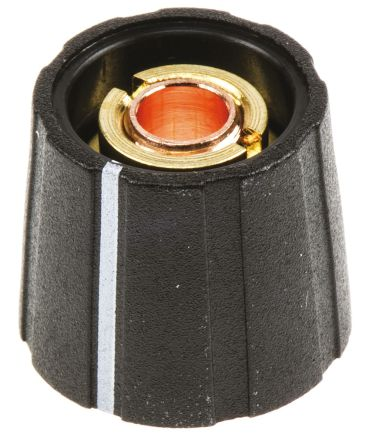 Sifam Potentiometer Knob, Collet Type, 15.5mm Knob Diameter, Black, 6mm Shaft (10)