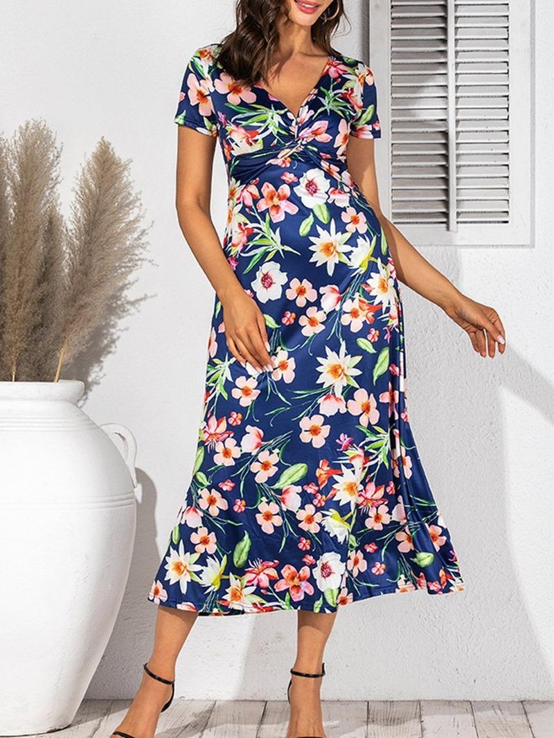 Ericdress Short Sleeve Mid-Calf Print A-Line High Waist Dress
