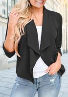 Three Quarter Sleeve Casual Blazer Coat - Black