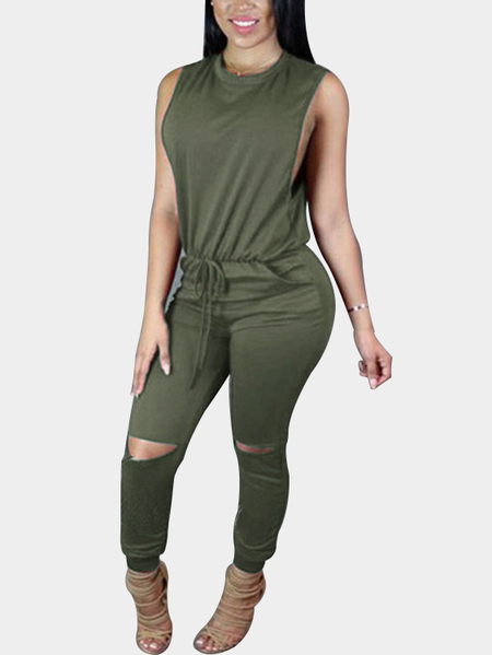 Yoins Casual Knit Sleeveless Jumpsuit in Green