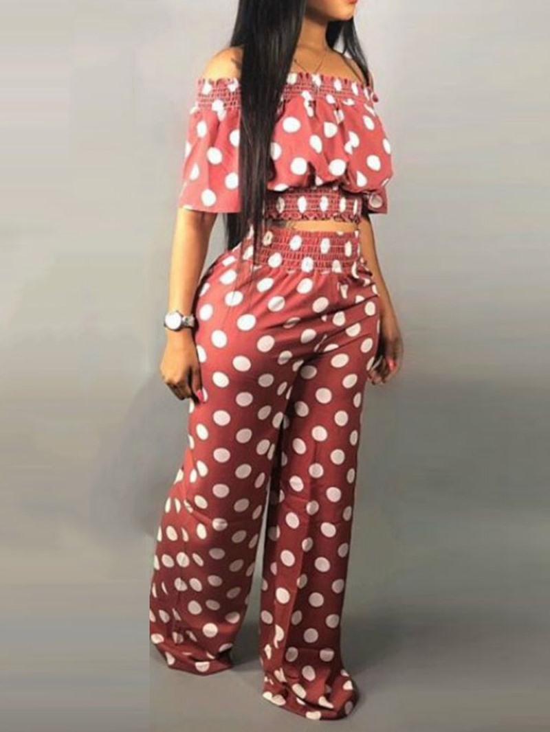 Ericdress Polka Dots Print Off Shoulder Shirt And Pants Two Piece Sets