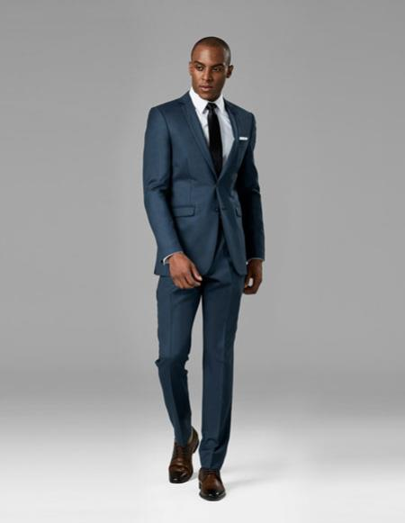 Mens Slate Blue best Suit buy one get one suits free slim vested Suit
