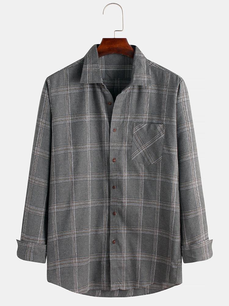 Mens British Style Plaid Chest Pockets Turn Down Collar Long Sleeve Shirts