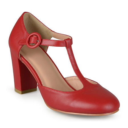 Journee Collection Womens Talie T-Strap Pumps, 7 Medium, Red
