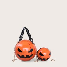 Halloween Pumpkin Decor Satchel Bag Set