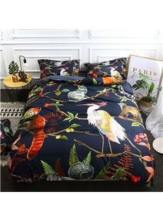 Animals Standing on Branches Surrounded By Ferns Digital Printing Polyester 3D 4-Piece Bedding Sets/Duvet Covers