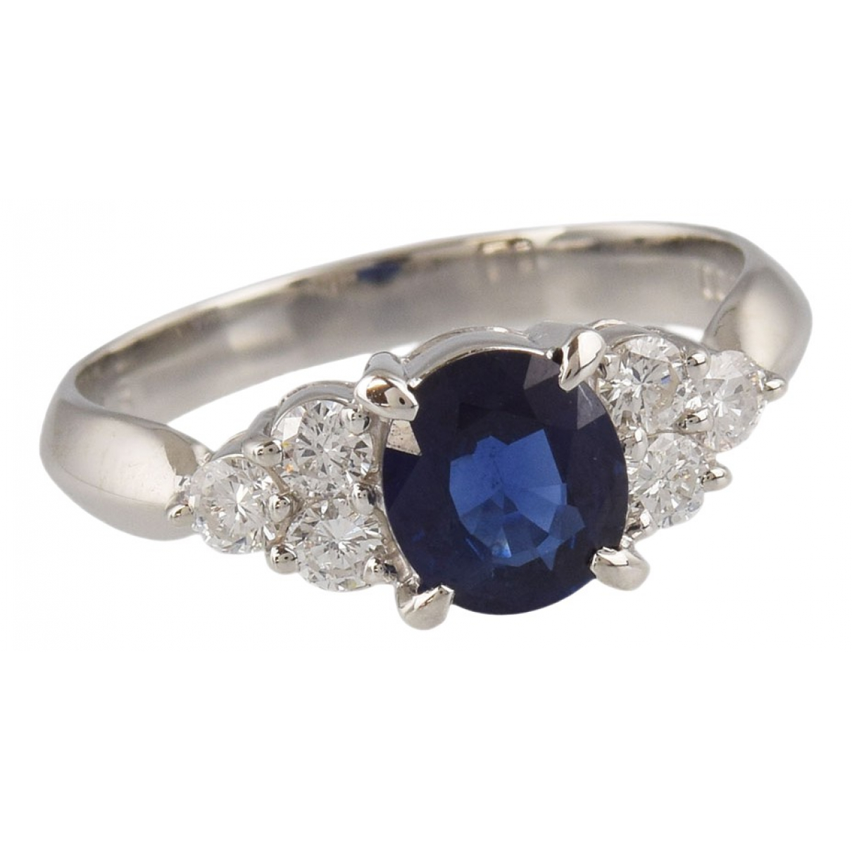 Non Signé / Unsigned Saphir Blue Platinum ring for Women 52 EU