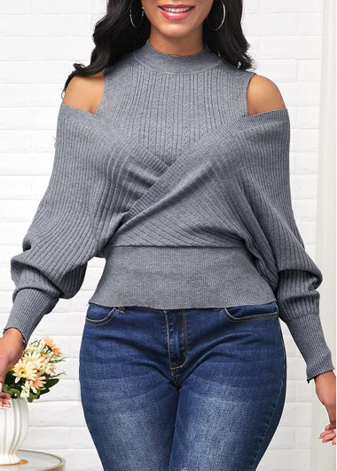 Women'S Grey Cold Shoulder Mock Neck Long Sleeve Sweater Solid Color Tunic Casual Jumper By Rosewe - XL