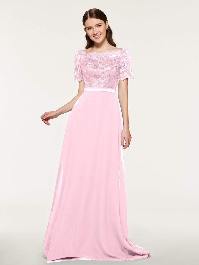 Ericdress Bateau Neck Short Sleeve Lace Bridesmaid Dress