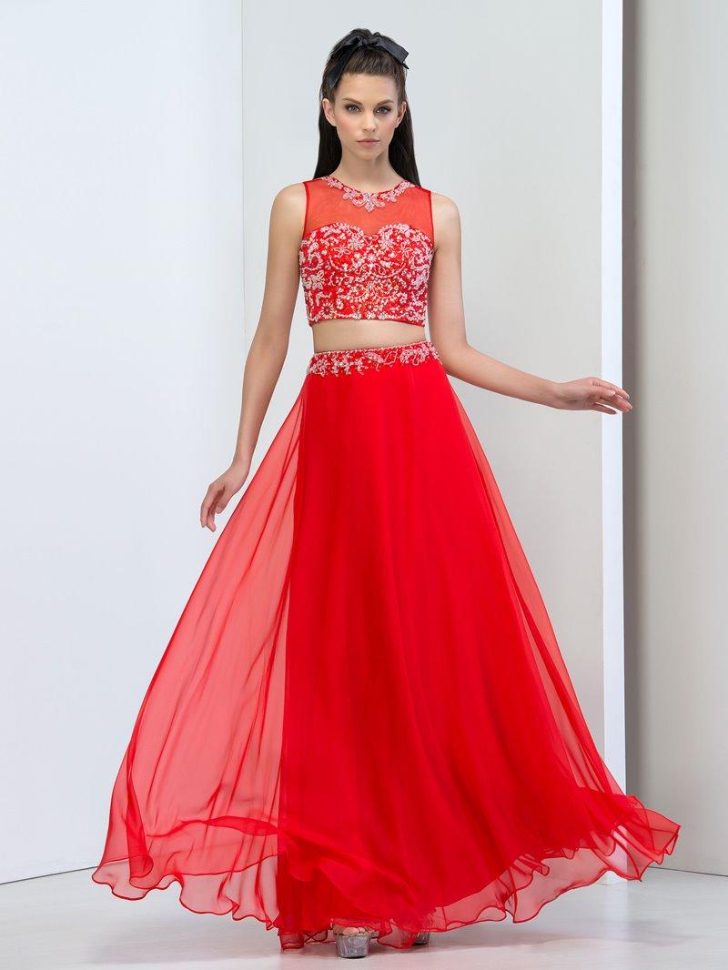 Ericdress Sheer Neck Beaded Sequins Two Piece Prom Dress