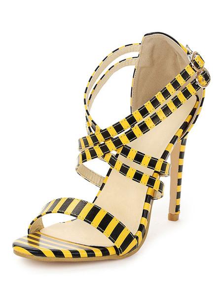 Milanoo High Heel Sandals Womens Striped Criss Cross Open Toe Stiletto Heel Sandals