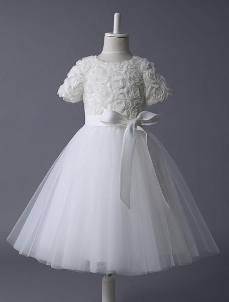 Milanoo Ivory Flower Girl Dress Lace Tutu Dress Ribbon Bow Sash Half Sleeve Short Kids Party Dresses