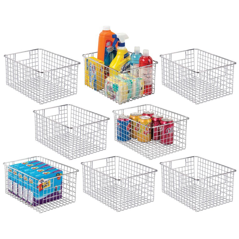 Medium Metal Wire Pantry Food Storage Basket in Chrome, 12 x 9 x 6, Set of 8, by mDesign