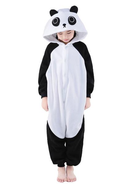 Milanoo Kigurumi Pajamas Panda Onesie For Kids Black Synthetic Winter Sleepwear Mascot Animal Costume Halloween