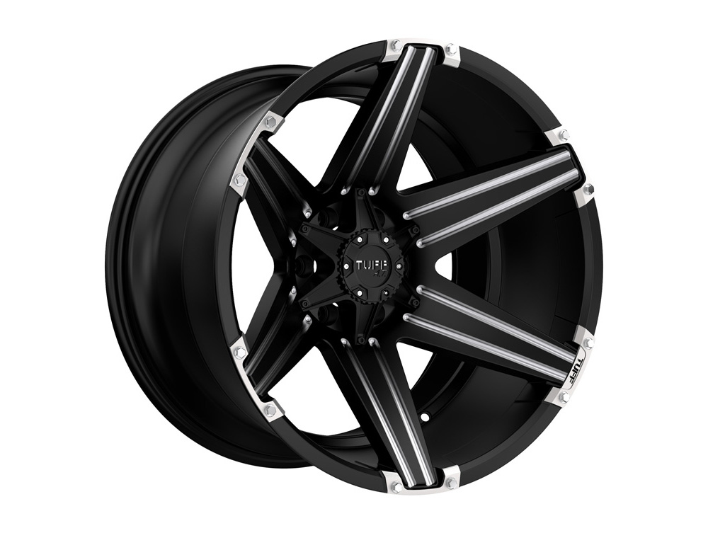TUFF T12 Wheel 22x10 8x170 -2mm Satin Black w/ Milled Spokes