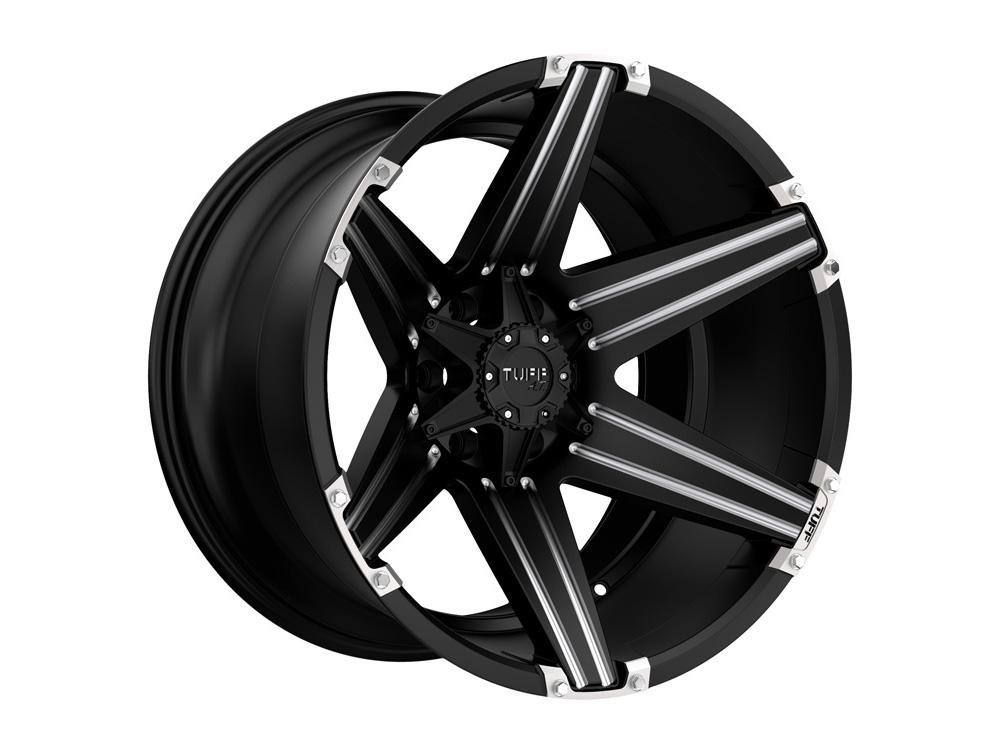 TUFF T12 Wheel 22x10 8x165.10|8x6.5 -2mm Satin Black w/ Milled Spokes