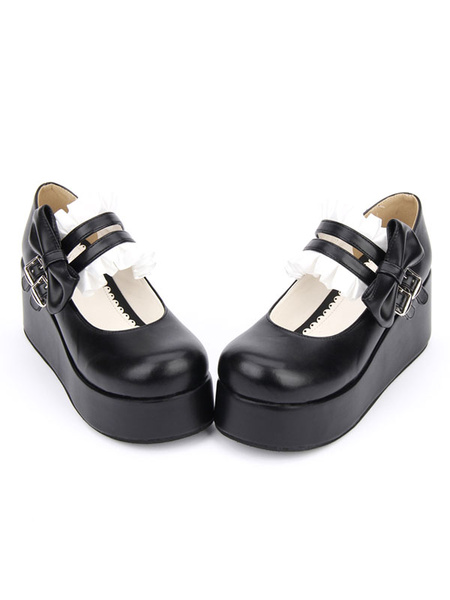 Milanoo Sweet Lolita Shoes Black Round Toe Platform Low Top Mary Jane Shoes