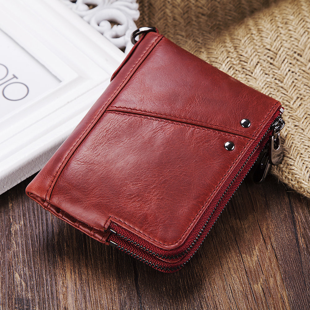 RFID Women Genuine Leather 12 Card Slot Bifold Short Wallet Double Zipper Coin Purse
