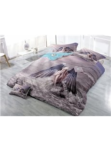 Fantasy Girl with Angel Wings Wear-resistant Breathable High Quality 60s Cotton 4-Piece 3D Bedding Sets