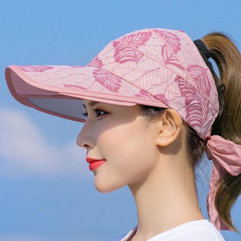 Women Print Sun Hat Anti-UV Cover Face Empty Top Hat