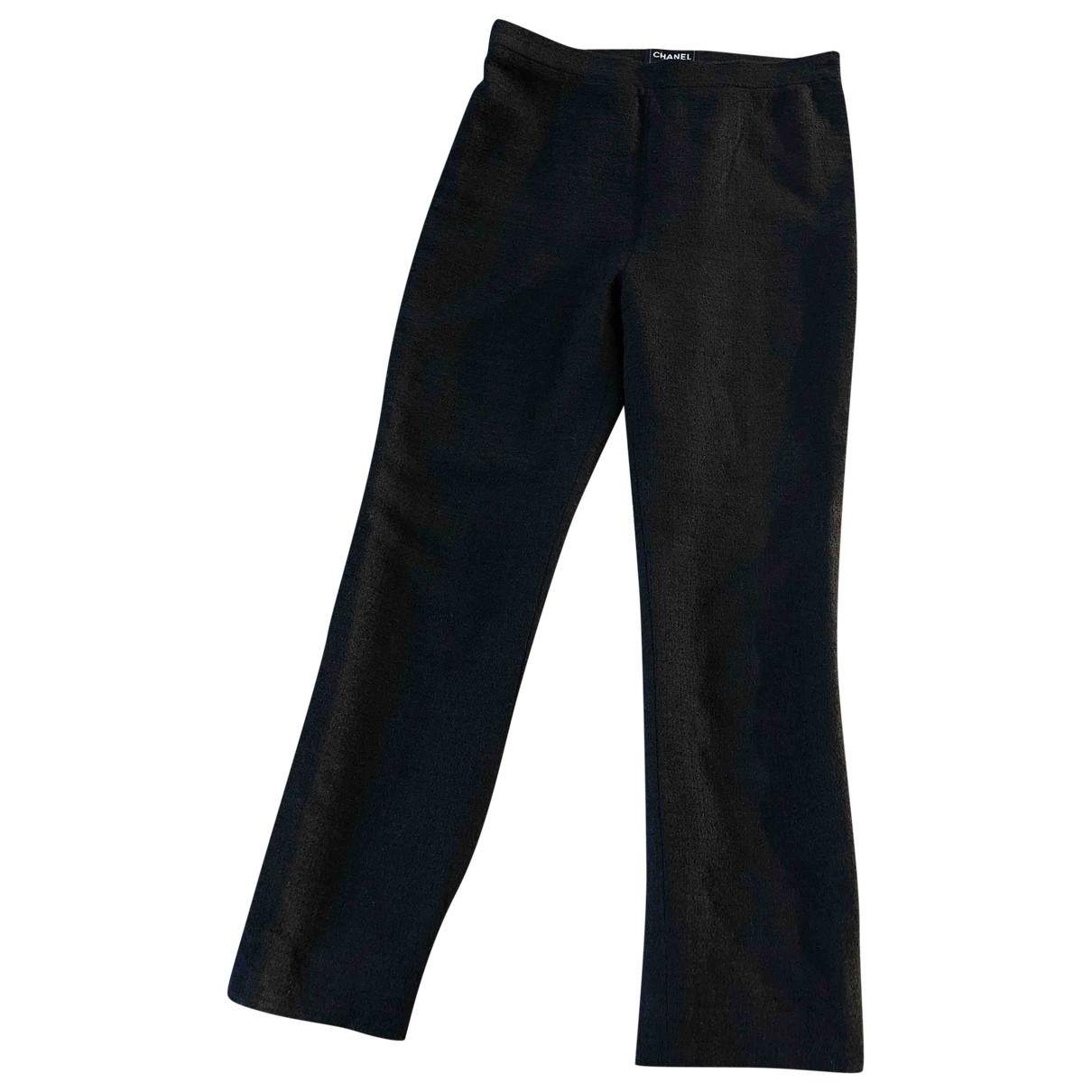 Chanel \N Black Linen Trousers for Women 36 FR