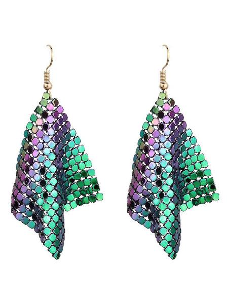 Milanoo Evening Earrings Green Women Party Drop Earrings Pierced Jewelry