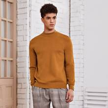 Men Mock Neck Solid Sweater