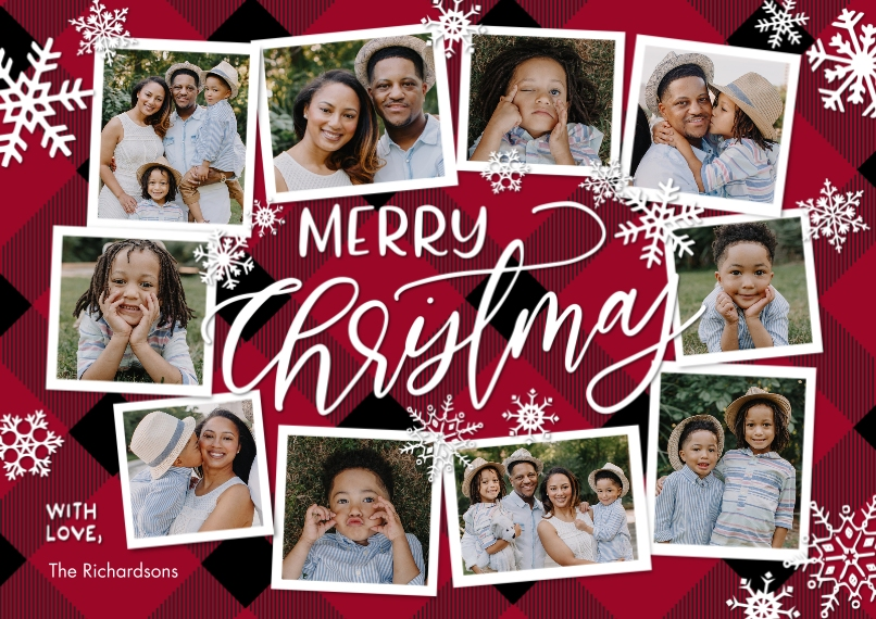 Christmas Photo Cards 5x7 Cards, Premium Cardstock 120lb, Card & Stationery -Christmas Collage Snowflakes by Tumbalina
