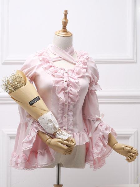 Milanoo Classic Lolita Blouse Royal Fairytale Lace Bow Ruffle Chiffon White Lolita Shirt