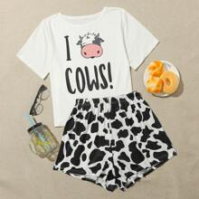Letter & Cow Print Shorts Pajama Set