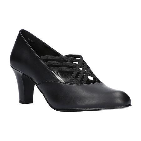 Easy Street Womens Rumer Pumps Spike Heel, 9 1/2 Wide, Black