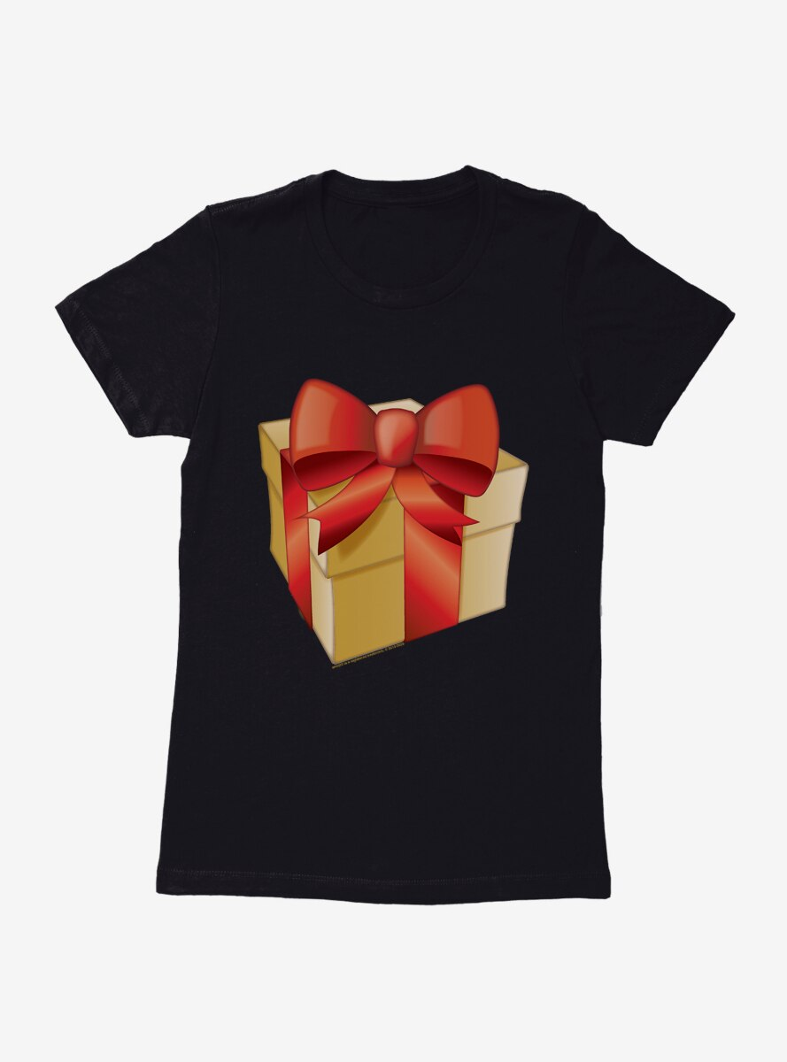 Emoji Holiday Icons Red Ribbon Present Womens T-Shirt