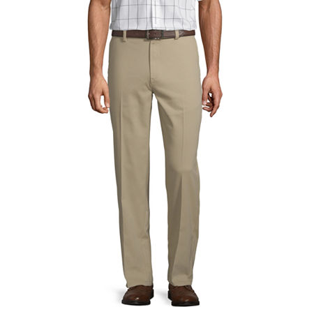 St. John's Bay Easy Care Men's Stretch Classic Fit Flat Front Pant, 40 32, Brown