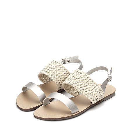 Yoins Casual Woven Leather Look Strap Buckle Flat Sandals