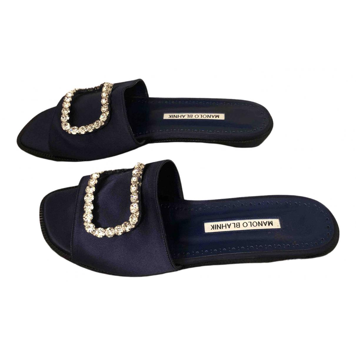 Manolo Blahnik \N Navy Cloth Sandals for Women 37 EU