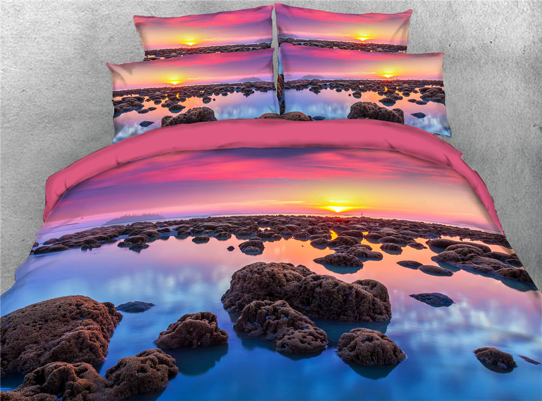 Girlie Scenery Machine Wash Four-Piece Set Duvet Cover Set Reactive Printing Polyester Bedding Sets 2 Pillowcases
