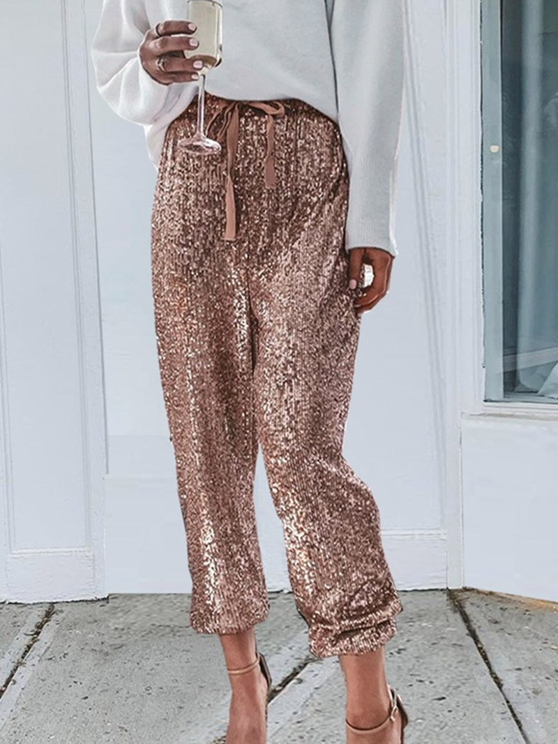 Ericdress Loose Sequins Straight High Waist Casual Pants