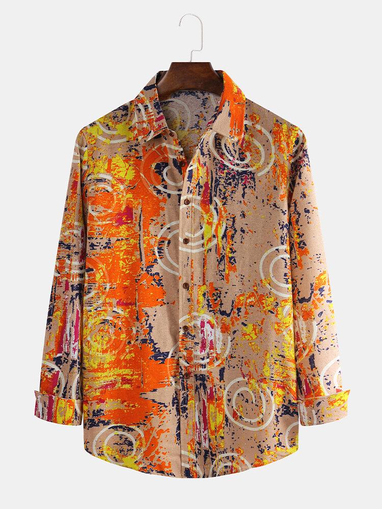 Men Cotton Linen Ethnic Floral Printed Casual Slim Shirt
