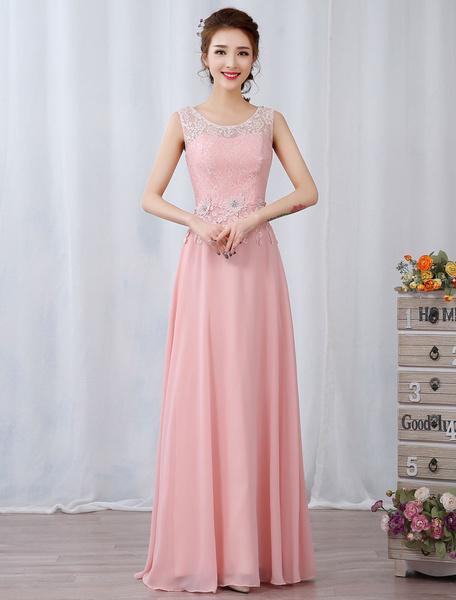 Milanoo Long Prom Dresses Soft Pink Party Dresses Chiffon Keyhole Lace Applique Beaded Floor Length Formal Dress