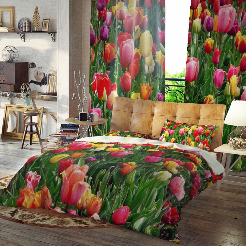 Lulip Floral Reactive Printing Three-Piece Set Duvet Cover Set Polyester Bedding Sets