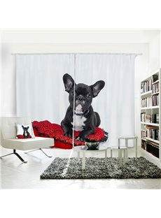3D Printed Vivid Dog Pattern Polyester Curtain