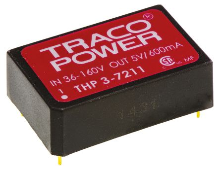 TRACOPOWER THP 3 3W Isolated DC-DC Converter Through Hole, Voltage in 18 → 80 V dc, Voltage out 12V dc Medical