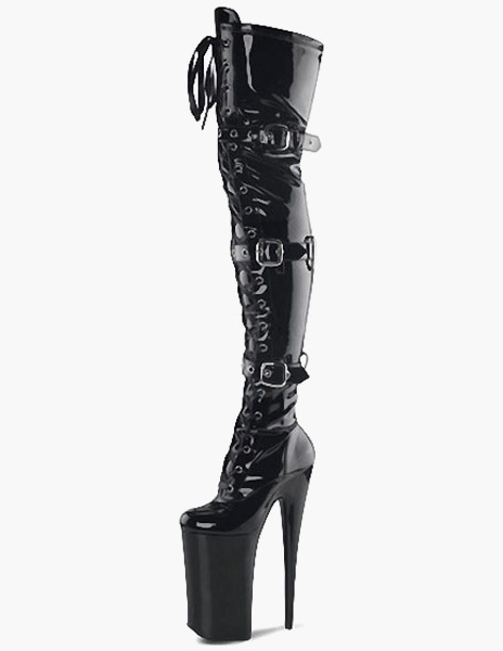 Milanoo Black PU Leather Grommets Buckles Sexy High Heel Boots