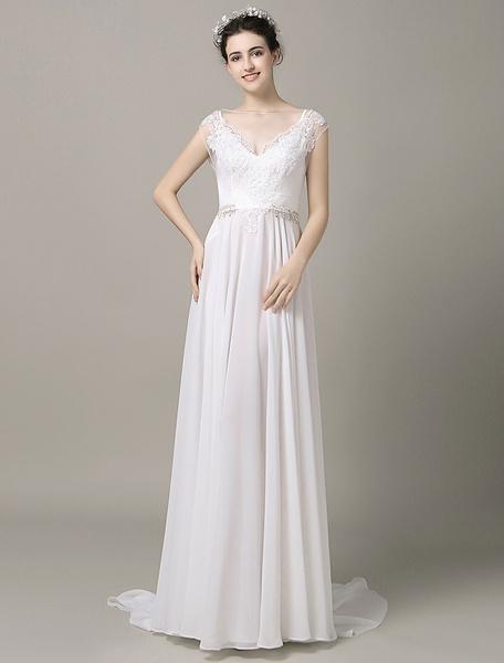 Milanoo Panel Train Boho Beach Wedding Dress Illusion Lace Applique Beading Split Chiffon Court Train A-Line Evening Dress</p>